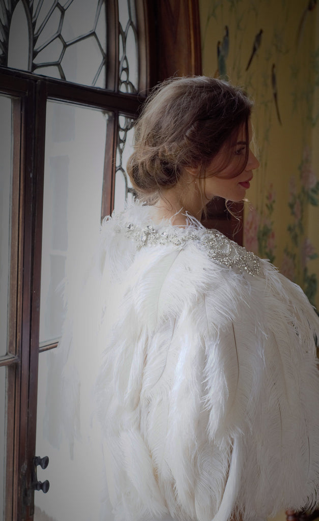 Stunning couture ostrich feather cape