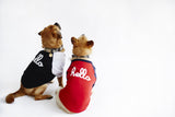 "Red and Blue ""Hello"" dog tee"