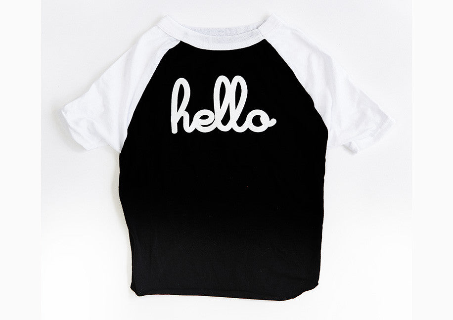 "Black and white ""Hello"" dog tee"
