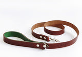 Country green and brown leather lead