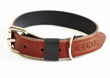 Navy blue and brown leather collar