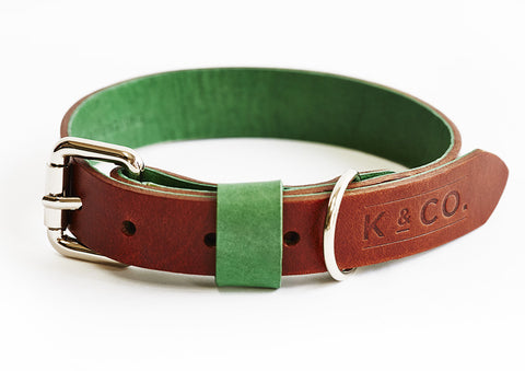 Country green and brown leather collar