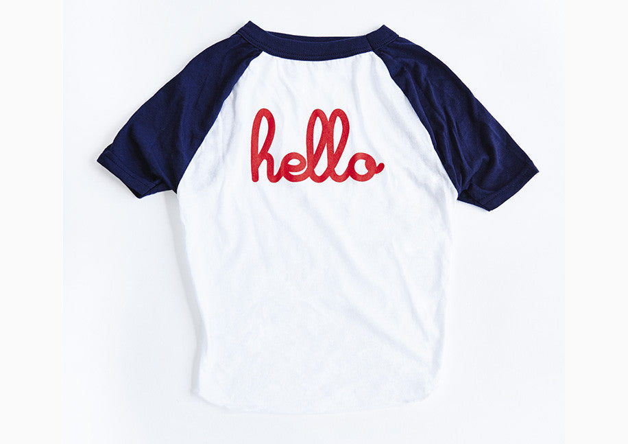 "Blue and white ""Hello"" dog tee"