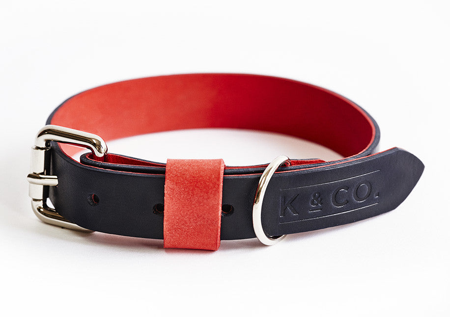 Navy blue and red leather collar