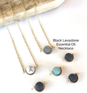 Black Lava Stone Essential Oil Necklace
