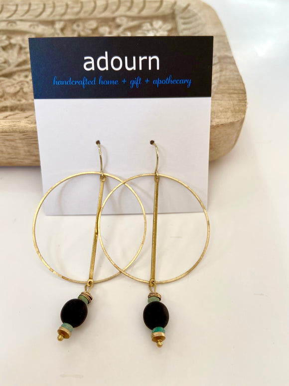 Gold hoop and lava stone earrings