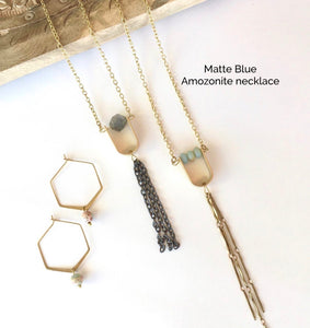 Matte Blue Amazonite Necklace