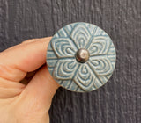 Blue/grey floral ceramic knob