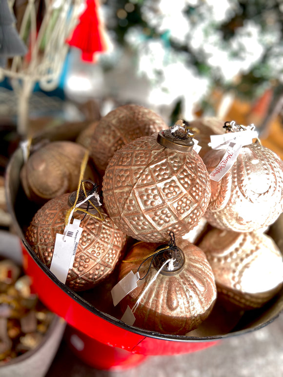 Blush textured glass ball ornament