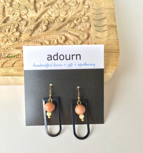 Rosewood Black 'u' Earrings
