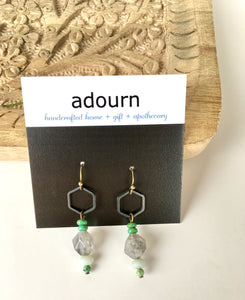 Grey Crystal Quartz Hex Earrings