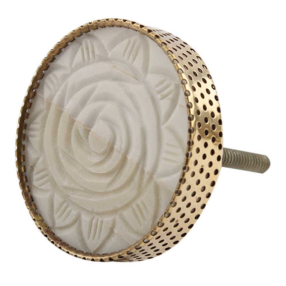 Carved floral and gold round knob