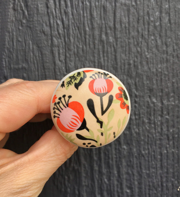 Multi color floral ceramic knob