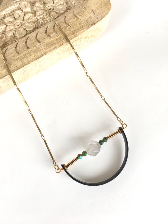 Clear Quartz and Turquoise Half Circle Necklace