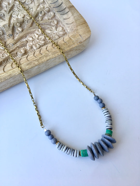Boho grey disc necklace