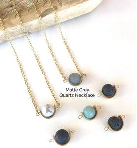 Matte Grey Quartz Necklace