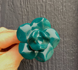 Dark green ceramic floral knob
