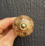Blush/tan gold floral ceramic knob