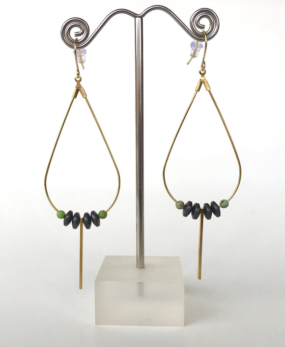 Hematite Disc Tear Drop Earrings