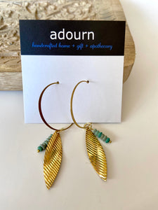 Gold leaf and turquoise earring