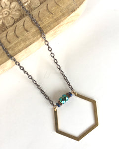 Czech Glass Hex Necklace