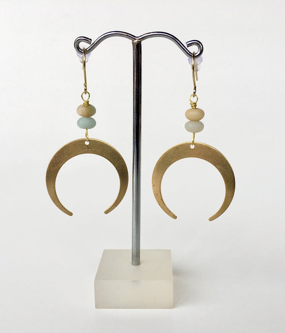 Half Moon Amazonite Earrings