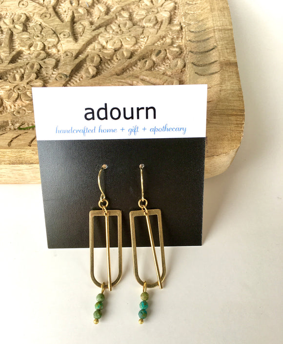 Turquoise Gold 'u' Earrings