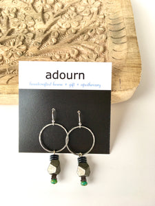 Silver Hoop Hematite Earrings