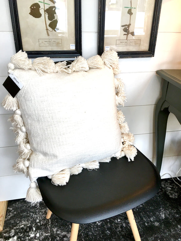 Off white tassel pillow