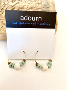 Recycled glass and gold hoop earring
