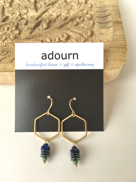 Czech Glass Hex Earrings