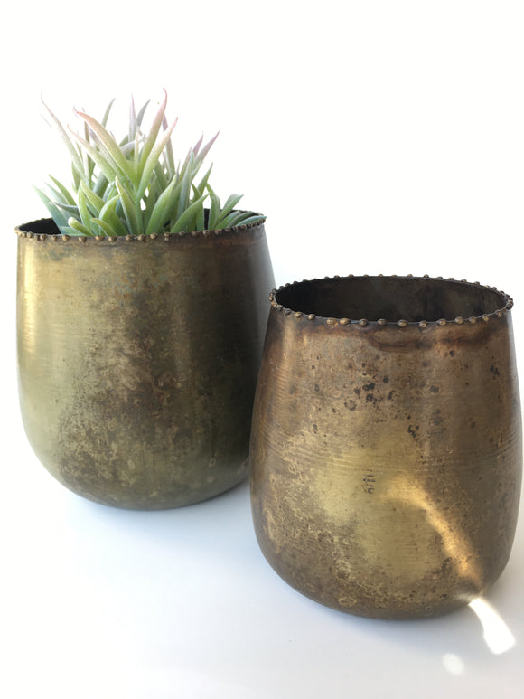 Set of 2 Brass Planters
