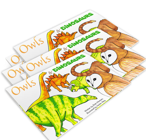 New! Owls and Dinosaurs - pack of 6