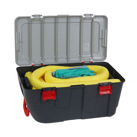 Yellow Chemical Spill Kit in a Plastic Box on Wheels KCE1