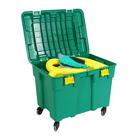 Yellow Chemical Spill Kit in a trunk on Wheels - KCF1
