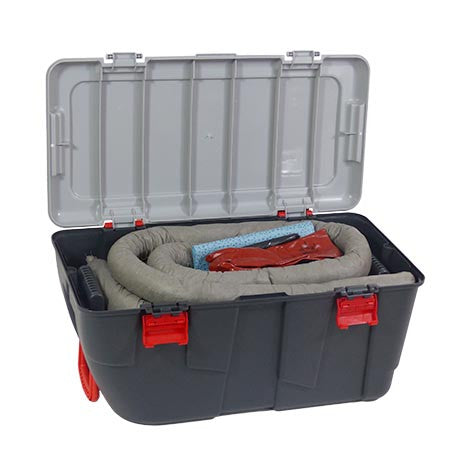 Grey Universal Spill Kit in a Plastic Box on Wheels KGE1