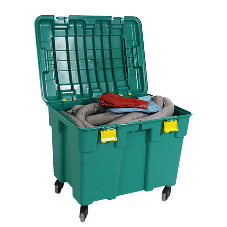 Grey Universal Spill Kit in a Plastic trunk on Wheels KGF1