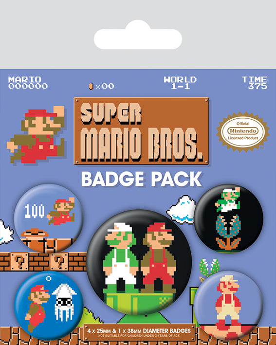 Nintendo Super Mario Brothers Retro Badge Pack