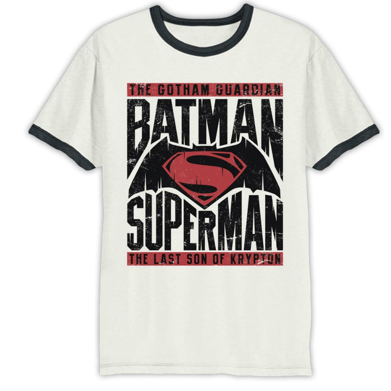 Batman Vs Superman Movie Logo Ringer Mens T-Shirt