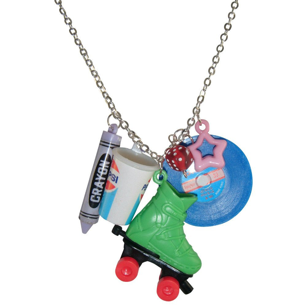 Kitsch Retro Green Roller Skate Charms Novelty Pendant Necklace 1