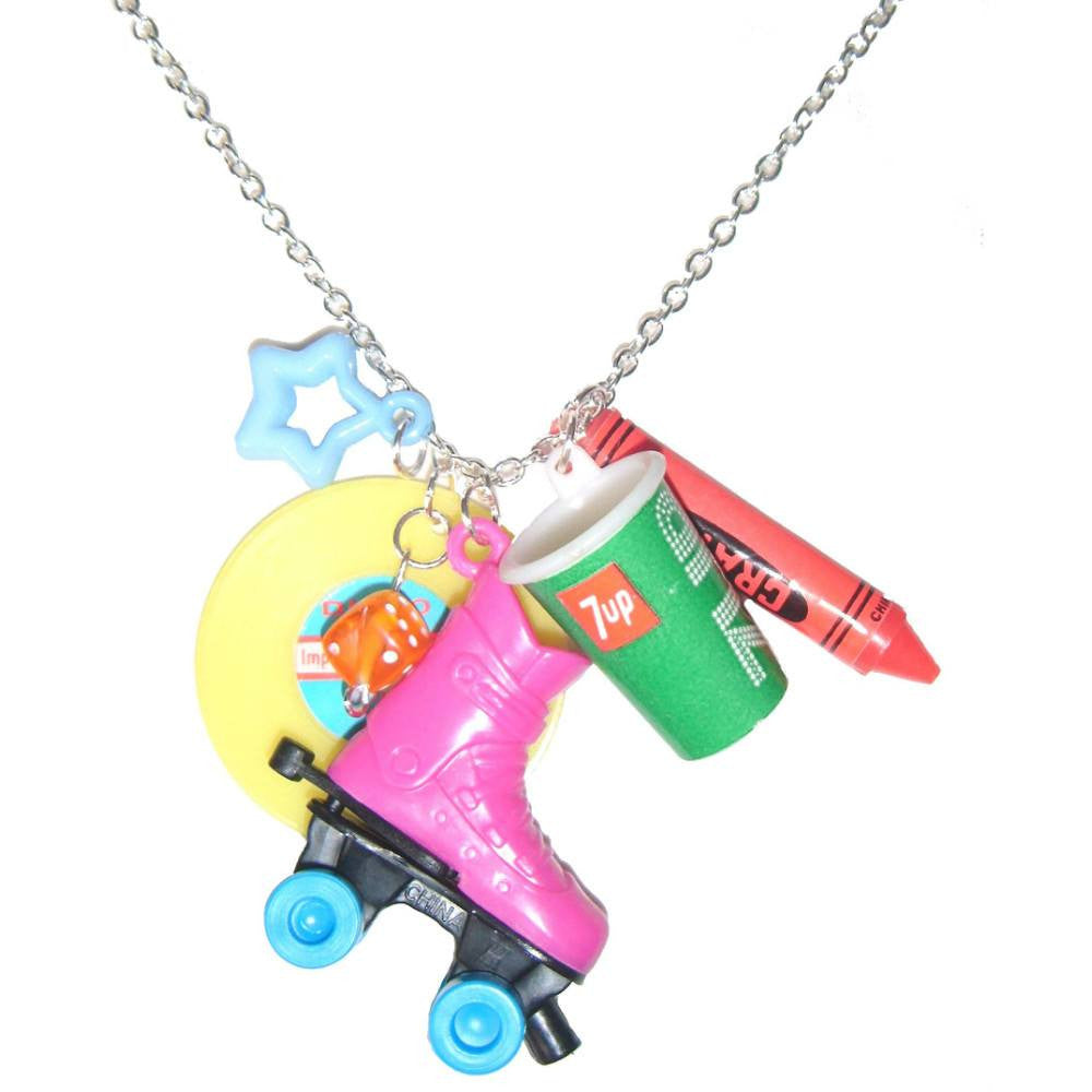 Kitsch Retro Pink Roller Skate Charms Novelty Pendant Necklace