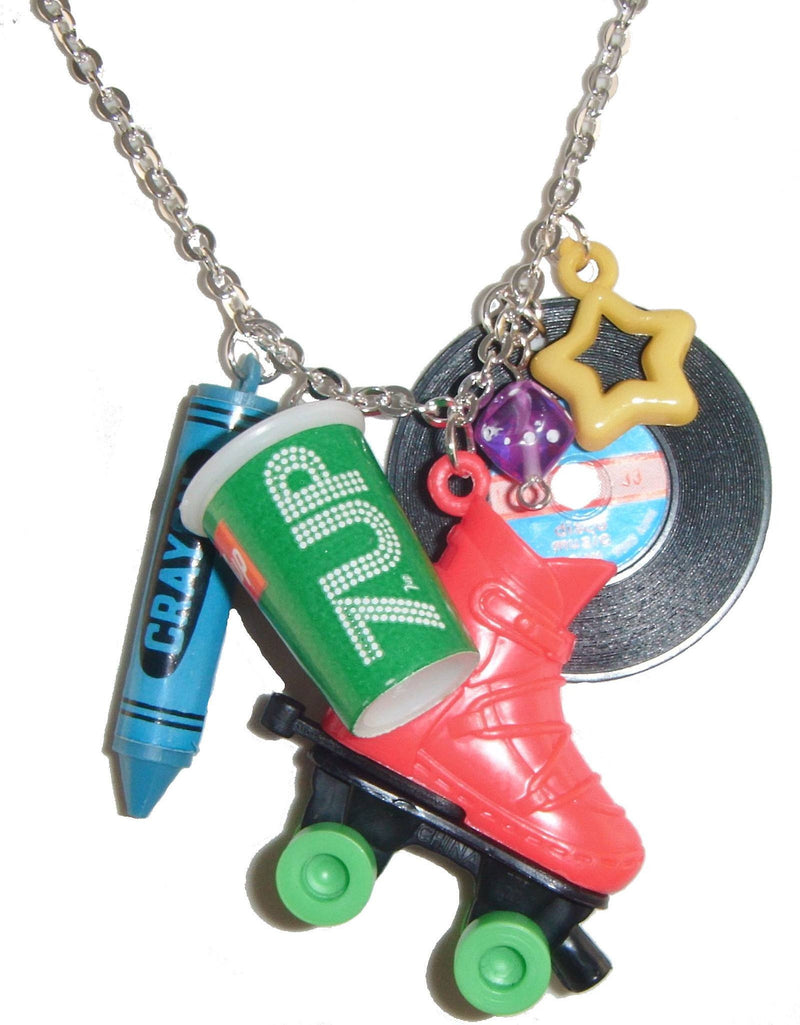 Kitsch Retro Red Roller Skate Charms Novelty Pendant Necklace