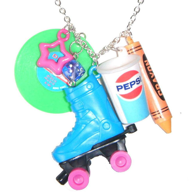 Kitsch Retro Roller Skate Charms Novelty Pendant Necklace