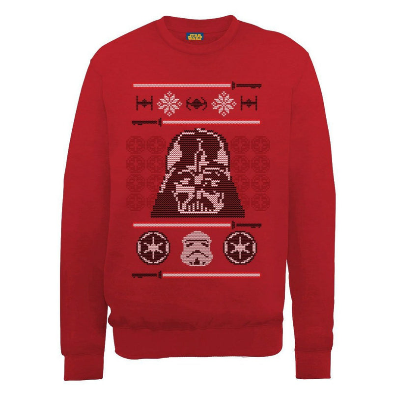 Star Wars Darth Vader & Stormtrooper Head Red Unisex Festive Christmas Sweater