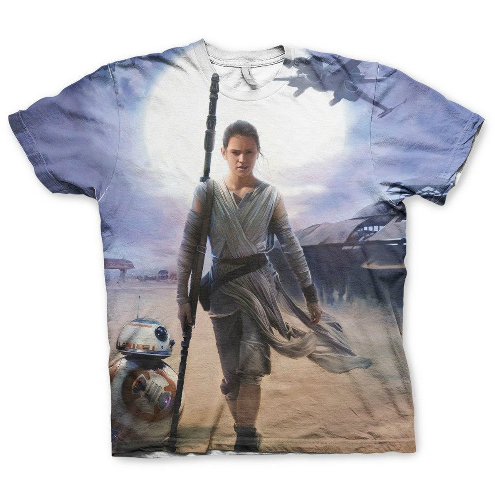 Star Wars Rey & BB-8 All Over Sublimation Print Unisex T-Shirt