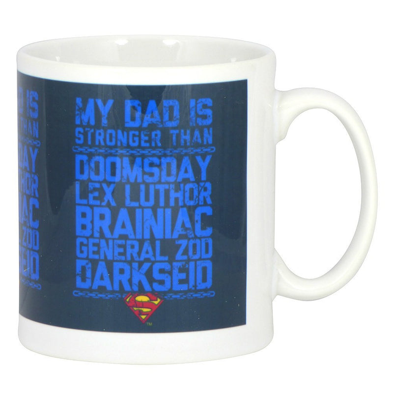 Superman My Dad is Stronger Than Boxed Mug