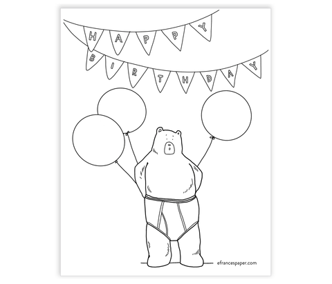 Birthday Suit Coloring Sign