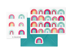 Rainbow Quartet Notecard + Sticker Set