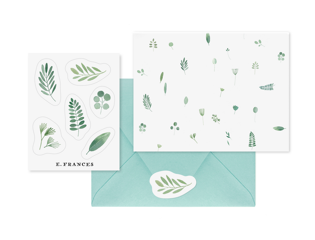 Botanical Notecard + Sticker Set