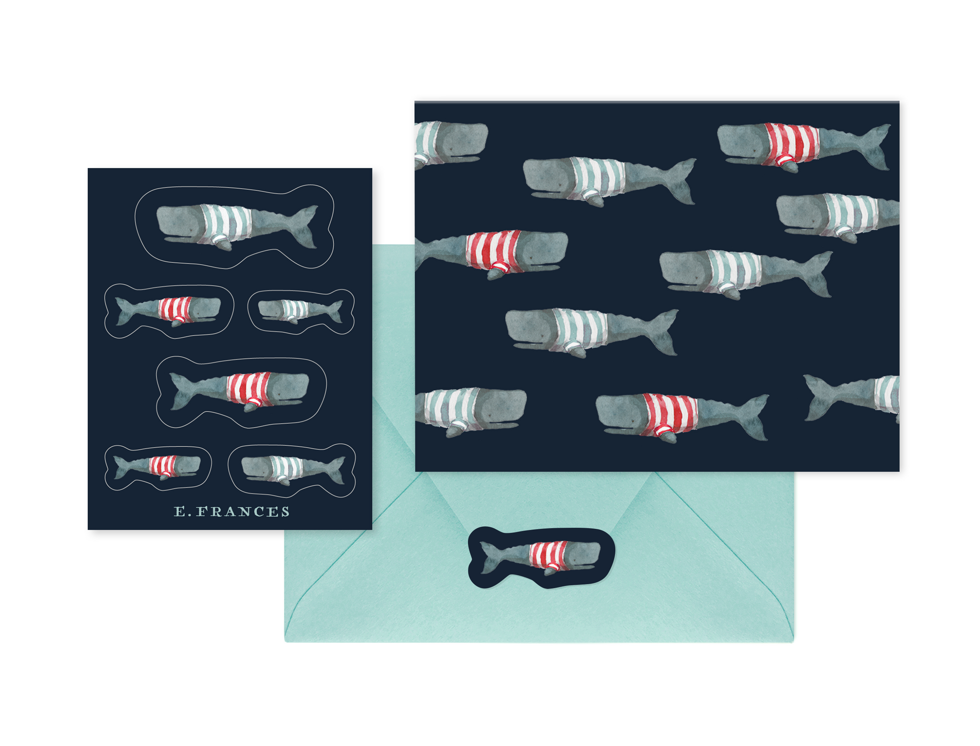 Swimming Frankies Notecard + Sticker Set